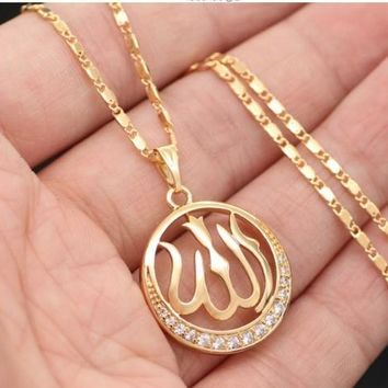 Gold Plated Arabic Muslim Islamic Crystal Pendant Necklace