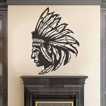 ik2855 Wall Decal Sticker Indian Chief Native American living room bedroom