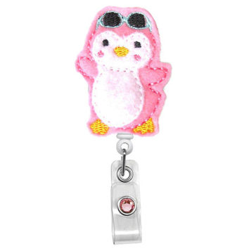 Sunglass Penguin - Name Badge Holder - Nurses Badge Holder - Cute Badge Reels - Unique ID Badge Holder - Felt Badge - RN Badge Reel