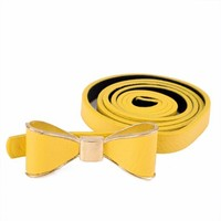 Skinny Yellow Belt with Bow Buckle