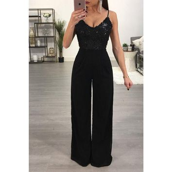 Fashion Sexy Women Ladies Clubwear Backless Playsuit Sequins Bodysuit Jumpsuits Party Jumper Romper Long Pants Black