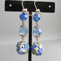 """My Secret Garden"" Handmade Lampwork Flower Art Glass Bead & Swarovski Crystal Artisan Dangle Leverback Earrings, ""Blue Poppy"" #160"