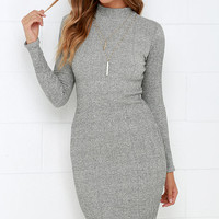 I Mist You Heather Grey Midi Sweater Dress