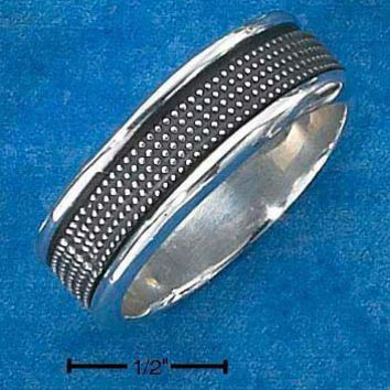 Sterling Silver Ring:  Mens Antiqued Worry Ring With Beaded Spinning Band