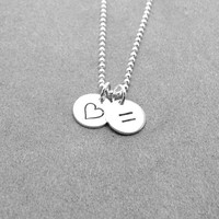 Marriage Equality Necklace, Heart and Equal Sign Necklace, Equality Jewelry, LGBT Necklace, Pride Jewelry, Charm Necklace, Sterling Silver