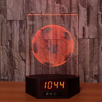 Soccer Ball 3D LED Night Light Lamp Clock