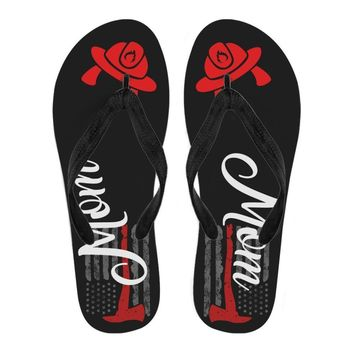 FireFighter Flip Flops - Thin Red Line Flag With Axe Mom/Spouse
