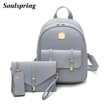 3pc Composite Faux Leather School Backpacks