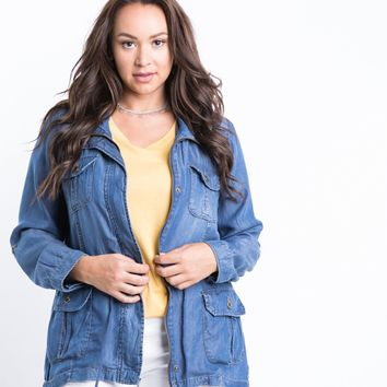 Plus Size Chambray Jacket