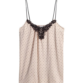 H&M - Tank Top with Lace - Powder beige/dotted - Ladies