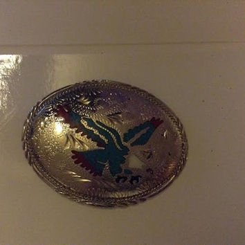 Blue and Red Turquiose Eagle Silver plated blet buckle