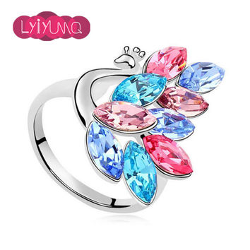 Vintage Colorful Animal Austria Crystal Ring For Girls Fashion Party Cute Peacock Wedding Rings Set Fine Jewelry