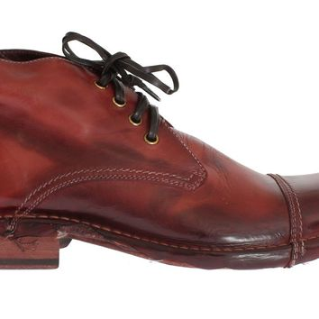 Dolce & Gabbana Bordeaux Leather Ankle Chukka Boots