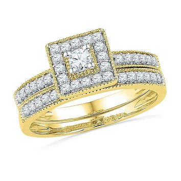 10kt Yellow Gold Women's Round Diamond Square Halo Bridal Wedding Engagement Ring Band Set 1/2 Cttw - FREE Shipping (US/CAN)
