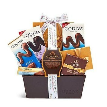GODIVA CHOCOLATE CELEBRATION BASKET HAPPY BIRTHDAY RIBBON $75