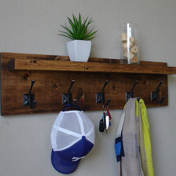 Corvallis Rustic Modern 5 Hanger Hook Coat Rack with Floating Shelf