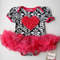 Black and white damask  Onesuit  hot pink by TheBabyBellaBoutique