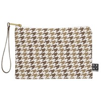 Allyson Johnson Classy Brown Houndstooth Pouch