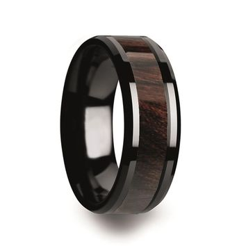 Men's Black Ceramic Wedding Band With Bubinga Wood Inlay & Beveled Edges - 8mm