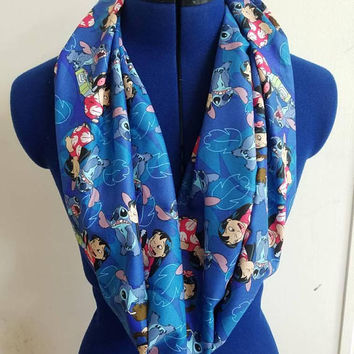 gift - for - her - disney - lilo - and  - stitch - hawaii - single  - loop - scarf