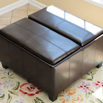 New Century® Leather Tray Top Storage Ottoman Bench, Espresso