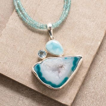 Blue Agate Larimar Beaded Necklace   - One of a Kind