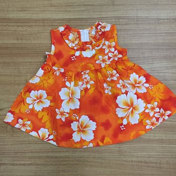 KY's Orange and White Hibiscus Girls Aloha Dress