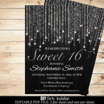 Black and silver sweets birthday invitations - Sweet 16 Birthday Invitations - Printable Sweet 16 Party Invitations #DPI1255