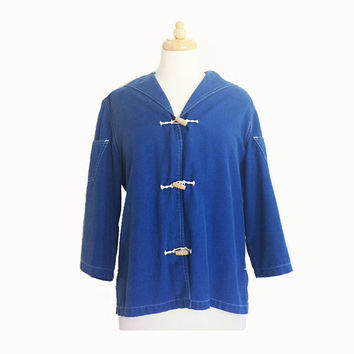 1950's Blue Sailcloth Jacket ~ Wooden Toggles ~ Nautical ~ White Stag ~ Vintage 50s