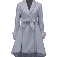 Grey Tie Waist Faux Fur Cuff Dipped Hem Wool Blend Coat