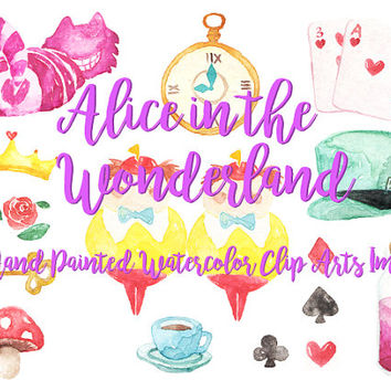 Alice in the Wonderland Watercolor Clipart Digital Disney tea party Download decoration digital kids birthday invitation printable print