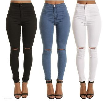 blue black white Sexy Elastic Hole Ripped Skinny Pencil Jeans Woman High Waist plus size slim Denim pants M-2xl