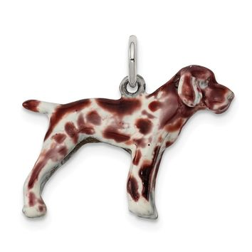 925 Sterling Silver Enameled German Shorthaired Pointer Charm and Pendant