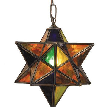 12 Inch W Multi-Colored Moravian Star Pendant Ceiling Fixture
