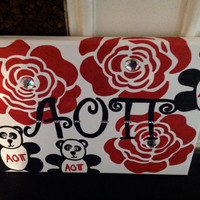 Alpha Omicron Pi Greek Sorority Canvas hand-painted sign, wall hanging, letters