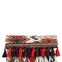 Sole Society Tassel Geo Foldover Clutch - Red