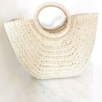 Ivory Straw Tote Bag