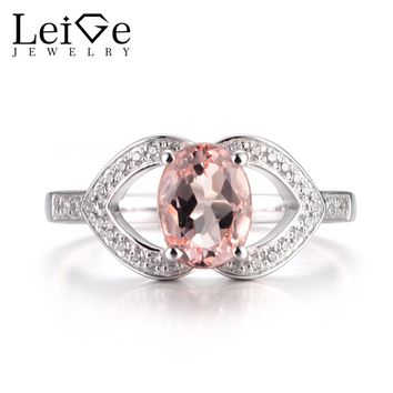 LeiGe Jewelry Natural Pink Morganite Engagement Rings Oval Cut Pink Gemstone Rings Solid 925 Sterling Silver Gifts for Women