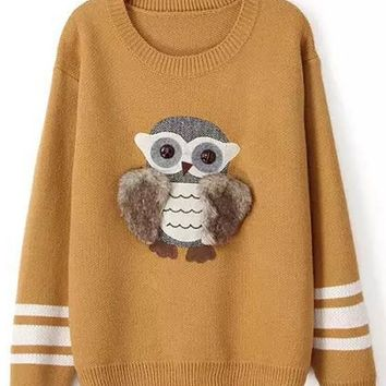 Khaki Owl Appliques Print Pullover Sweater