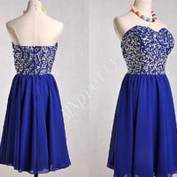 2015 Short Dark Royal Blue Stunning Beaded Crystal Prom Dresses,Short Homecoming Dresses,Formal Party Dresses Prom Dresses2015
