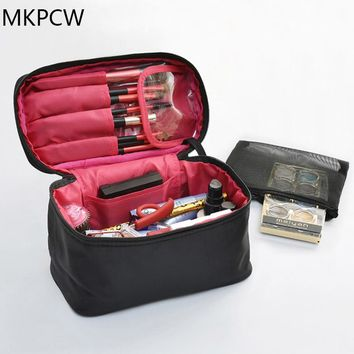 Solid color nylon travel makeup bag men and women cosmetic bag case