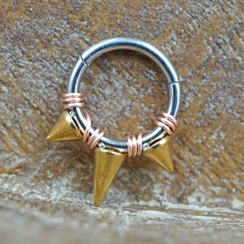 Gold Spikes Hinged Segment Ring Hoop