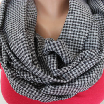 Grey Houndstooth Long Scarf, Fringe Scarf, Man Fashion Winter Accessories, Long Scarf, Women's Scarf,Warm Unisex Scarf, Fringe Scarf For him