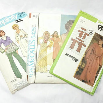 Verity of Fashion Patterns from late 70s/McCall's and Simplicity Pattern (Lot of 3)