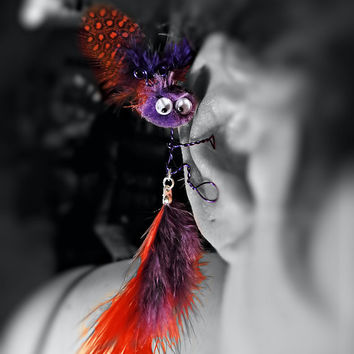 Monster Ear Cuff Red Hat Society - Handcrafted Wire Wrap Pom Pom - Sylvia - Unique Jewelry for a Unique You