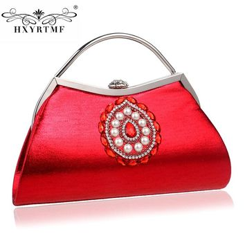 European And American Style Chains Diamonds Casual Women Evening Bag Beading Cover Soft Handbag For Dinner Women's Fashion