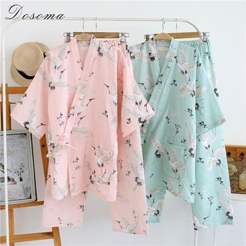 Japanese Yukata Women's Pajamas Kimono Pants Sets Robes Dress Cotton Girl Sleepwear Bathrobe Leisure Wear Kawaii Loose Style