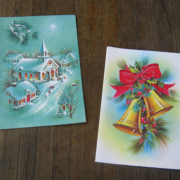 4 Unused Vintage Christmas Cards: Wise Men, Snowy Village, Blessing & Church Bell 1950s Christmas Cards - Gorgeous Scallop-Edge Cards