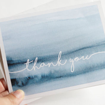50 Cursive Indigo Watercolor Thank You Cards // Wedding Thank You Cards // Engagement Thank You Cards // Professional Thank You Cards