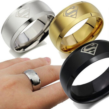 2015 New Superman Fashion Ring Stainless Steel Wedding Rings Jewelry for Women and Men = 1946234244